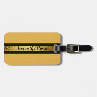 Personalized Mustard Yellow with Black and Gold Luggage Tag