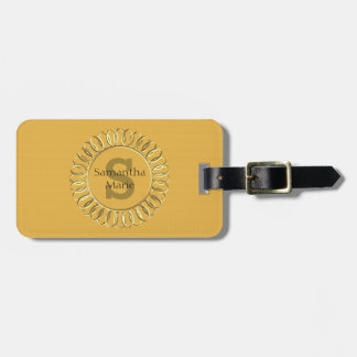 Personalized Mustard Yellow with Gold Frame Luggage Tag