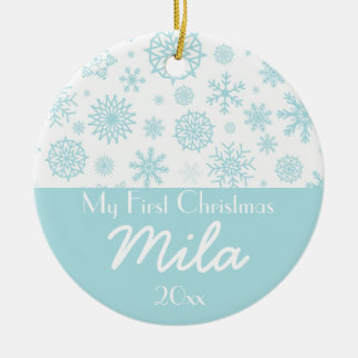 Personalized My First Christmas Winter Snowflake 2 Ceramic Ornament