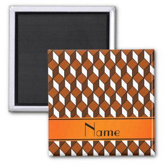 Personalized name 3d orange squares magnet