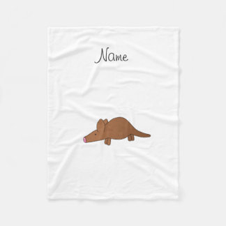 Personalized name aardvark fleece blanket