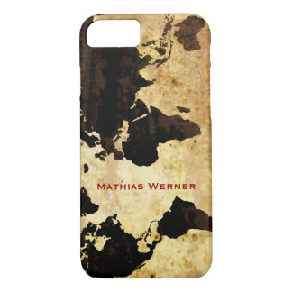 personalized name aged world map Case-Mate iPhone case