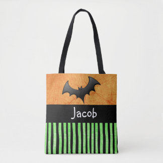 Personalized Name and Bats Trick or Treat Bag