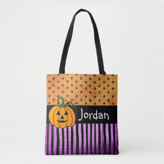 Personalized Name and Black Cat Trick or Treat Bag