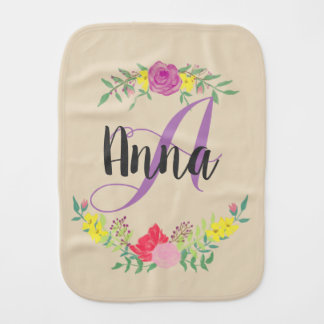 Personalized Name and Monogram Baby Burp Cloth