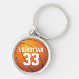 Personalized Name and Number Basketball Silver-Colored Round Keychain