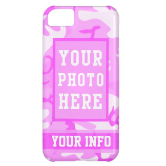 Personalized Name and Photo Cute Pink Camouflage iPhone 5C Cover