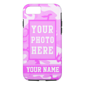 Personalized Name and Photo Cute Pink Camouflage iPhone 7 Case