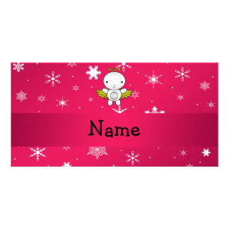 Personalized name angel pink snowflakes photo cards