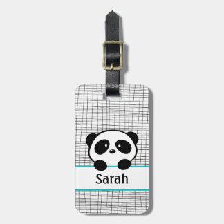 Personalized Name Aqua Panda Bear Luggage Tag