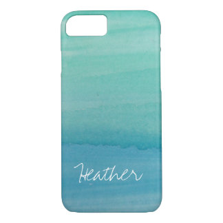 Personalized name aqua watercolor iPhone 7 case
