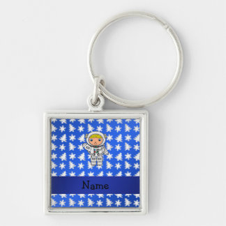 Personalized name astronaut blue snowflakes trees keychain