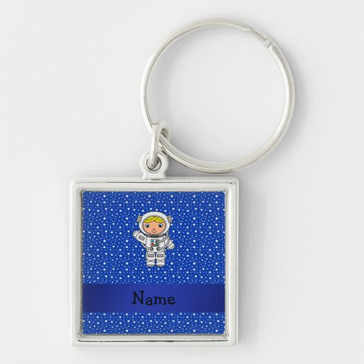 Personalized name astronaut blue stars keychains
