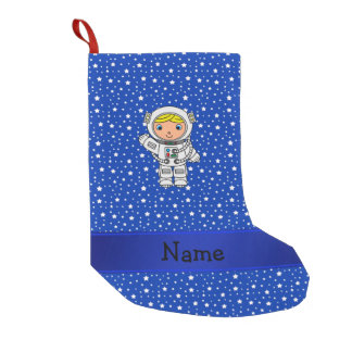 Personalized name astronaut blue stars small christmas stocking