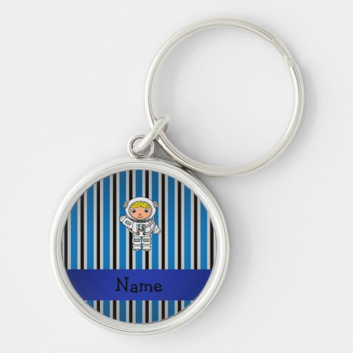 Personalized name astronaut blue stripes keychains