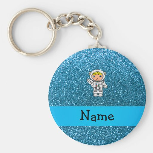 Personalized name astronaut sky blue glitter keychain