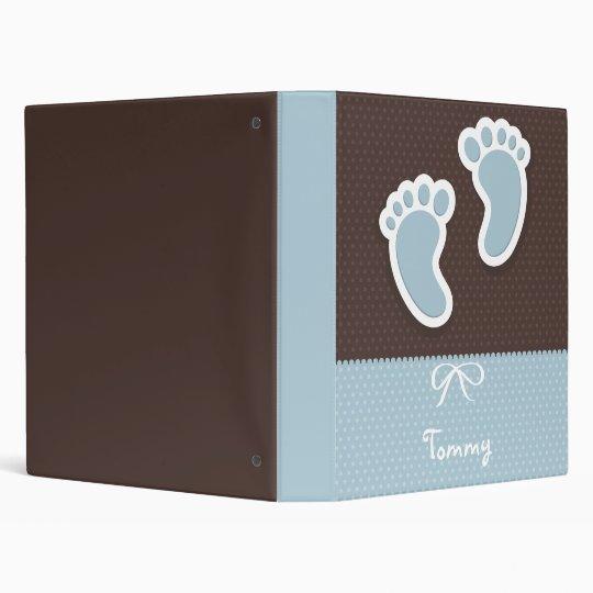 Personalized,Name,Baby Boy,Footprint,Blue Binder