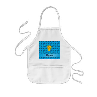 Personalized name baby chick blue butterflies aprons