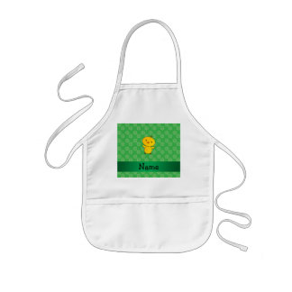 Personalized name baby chick green flowers apron