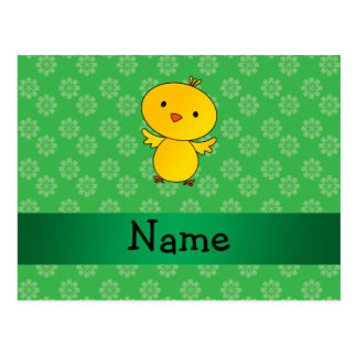 Personalized name baby chick green flowers postcards