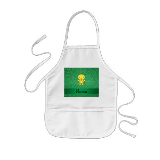 Personalized name baby chick green glitter apron