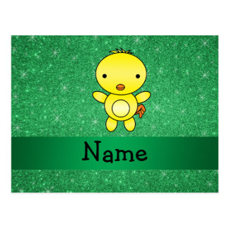Personalized name baby chick green glitter postcard