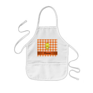 Personalized name baby chick orange gingham apron