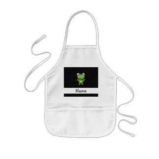 Personalized name baby frog black criss cross aprons