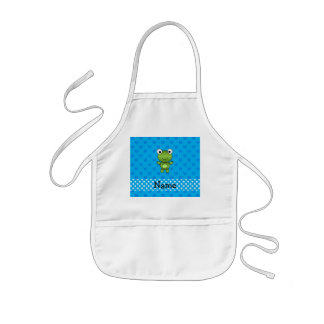 Personalized name baby frog blue butterflies aprons