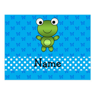 Personalized name baby frog blue butterflies postcard