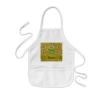 Personalized name baby frog giraffe pattern aprons