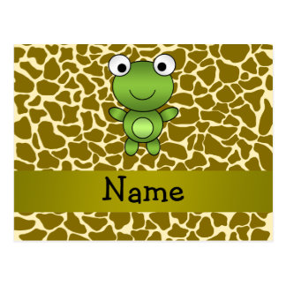 Personalized name baby frog giraffe pattern post cards