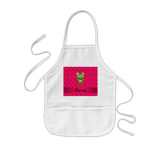 Personalized name baby frog pink flowers apron