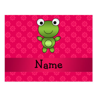 Personalized name baby frog pink flowers post cards