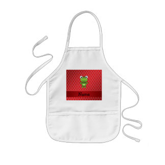 Personalized name baby frog red dragon scales aprons