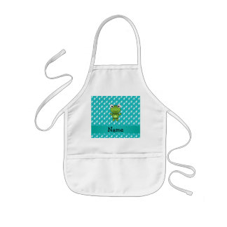 Personalized name baby frog turquoise cats pattern aprons