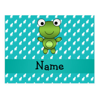 Personalized name baby frog turquoise cats pattern post card