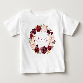 Personalized Name Baby Girl Watercolor Floral-11 Baby T-Shirt