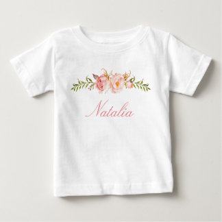 Personalized Name Baby Girl Watercolor Floral-13 Baby T-Shirt