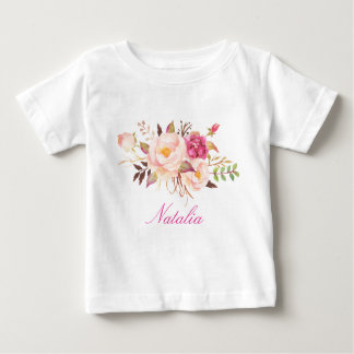 Personalized Name Baby Girl Watercolor Floral-6 Baby T-Shirt