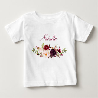 Personalized Name Baby Girl Watercolor Floral-8 Baby T-Shirt