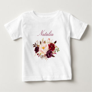 Personalized Name Baby Girl Watercolor Floral-9 Baby T-Shirt