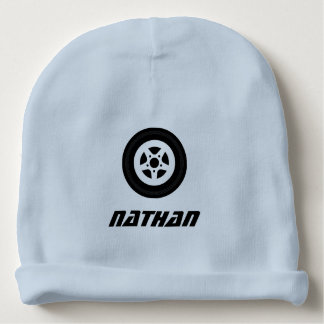 Personalized name baby hat with auto racing theme baby beanie
