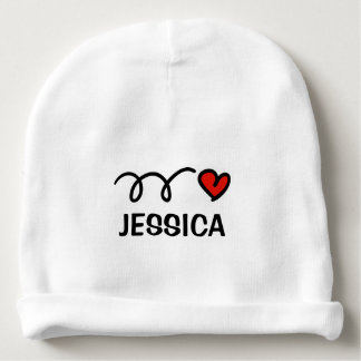 Personalized name baby hat with cute red heart baby beanie