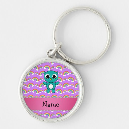 Personalized name baby owl purple rainbows key chains