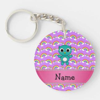 Personalized name baby owl purple rainbows key chain