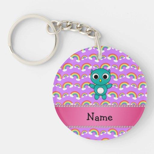 Personalized name baby owl purple rainbows acrylic keychain