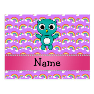 Personalized name baby owl purple rainbows post cards