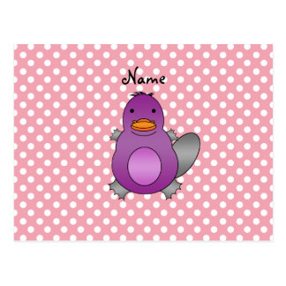 Personalized name baby platypus pink polka dots post cards