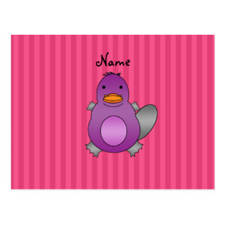 Personalized name baby platypus pink stripes post cards